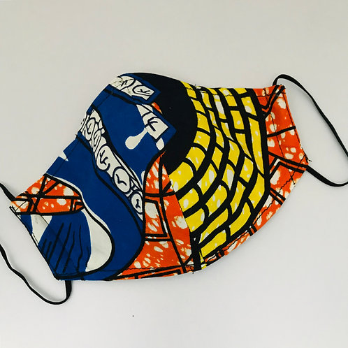 Wax printed Yellow & Blue Face Mask