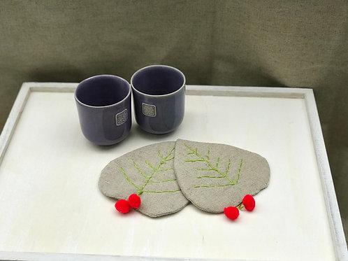 Little leaf coaster [set of 2]