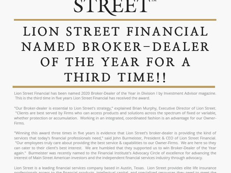 Lion Street Financial Named Broker-Dealer of the Year for a Third Time!