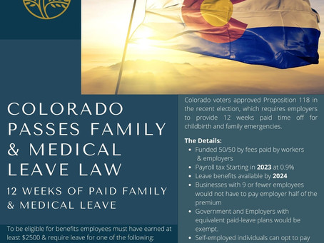 Colorado Passes Family & Medical Leave Law