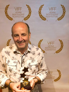 Colin Skevington with the Best Art Direction award at the Vienna Independent Film Festival.