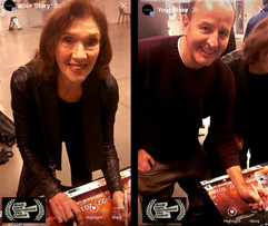 Linda Marlowe and Colin Skevington signing the winners poster at Rhode Island.