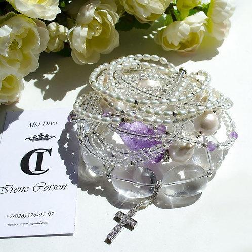 Объемный браслет из барочного жемчуга, хрусталя, аметрина и серебра