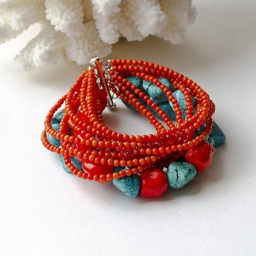 """Объемный браслет из коралла и бирюзы """"Рыжее Лето"""""""