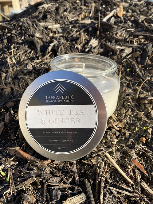 White Tea & Ginger Organic Candle 10oz