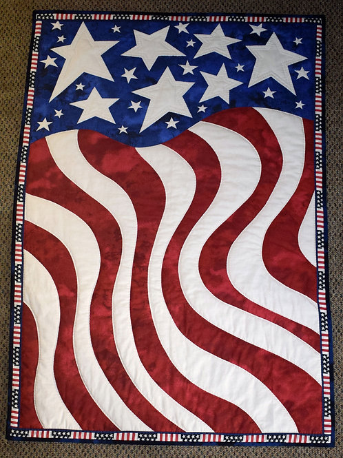 Hand Quilted American Flag Wall Hanging