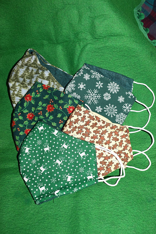 Holiday Print Adult Face Masks -Reversable