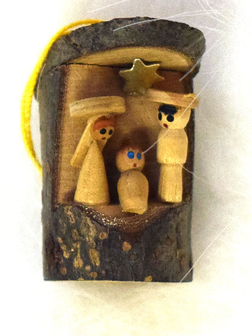 Nativity Natural Wood Ornament