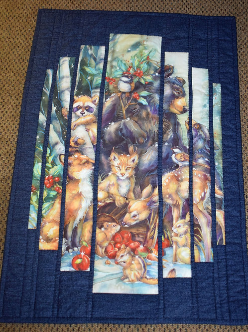 Hand Quilted Winter Woodland Animal Wall Hanging