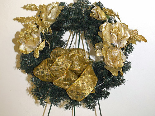 Evergreen & Gold Floral Wreath