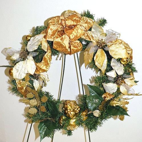 Angelic Evergreen & Gold Wreath