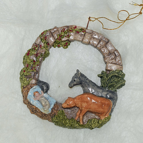 Round Animal Nativity Ornament
