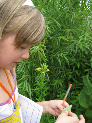 A child participates in a Nature Scavenger Hunt during G-RAS's Annual Picnic at Spring Creek Reserve.