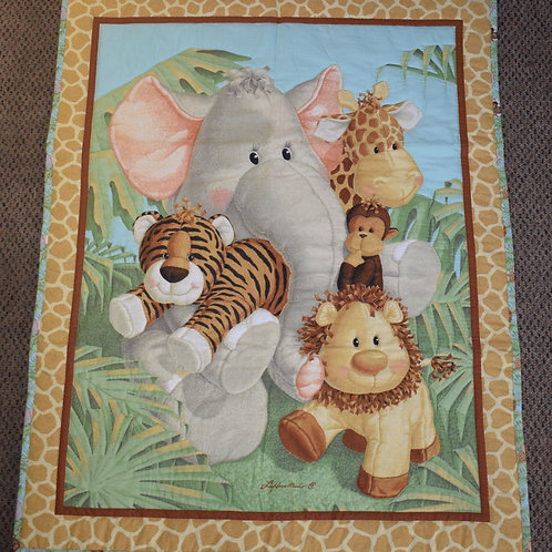 Hand Quilted Baby Jungle Animal Lap Quilt