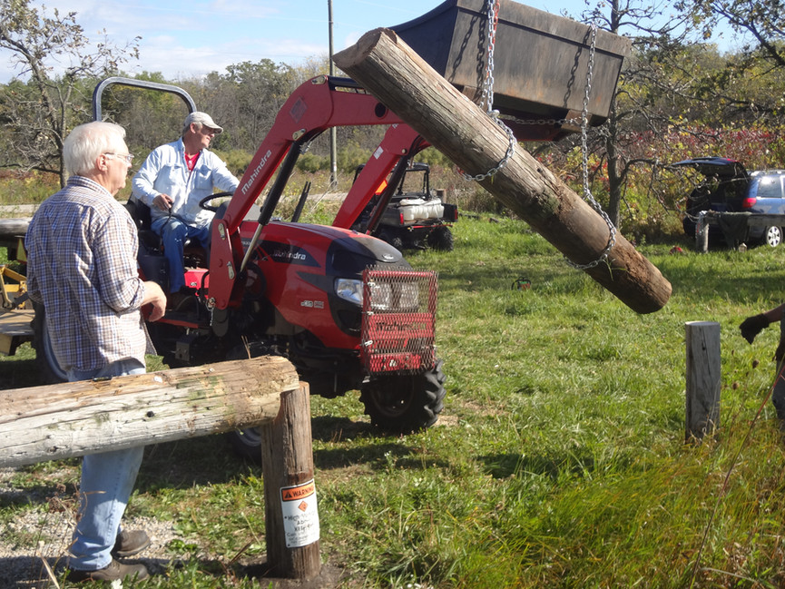 Volunteers creating vehicle barriers at Gabower-Reilly Reserve.