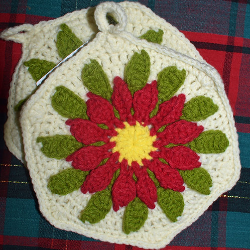 Poinsettia Pot Holder -- Set of Two (Deep Red & Cream)