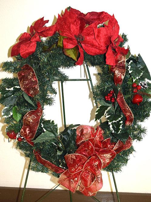 Evergreen & Red Poinsettia Wreath