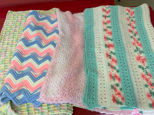 Hand-knit or crocheted Baby Blankets
