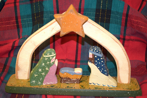 Rustic Hand-painted Nativity