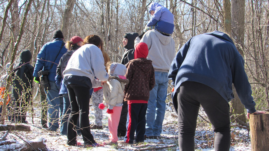 Hikers gather at Androne Woods to experience the woods in snow.