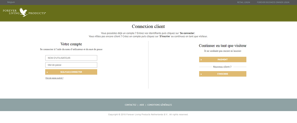 Compte client forever belgique
