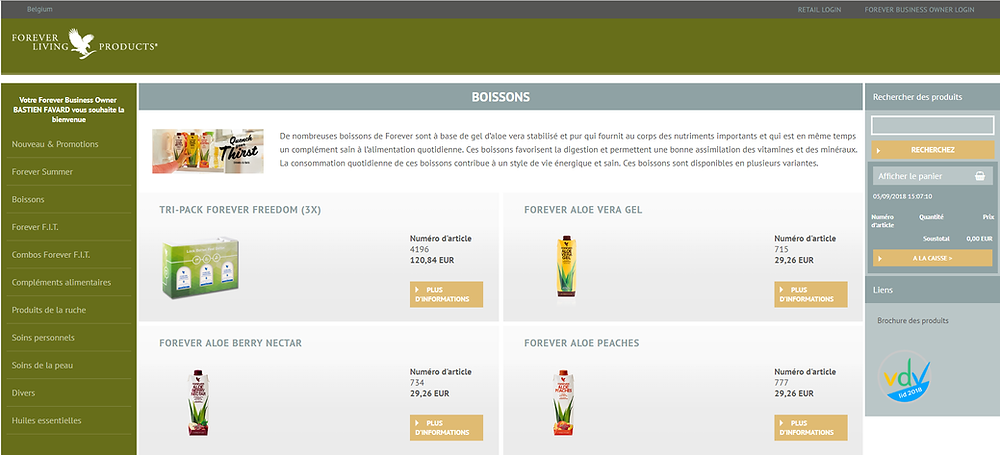 boutique en ligne aloe vera forever belgique
