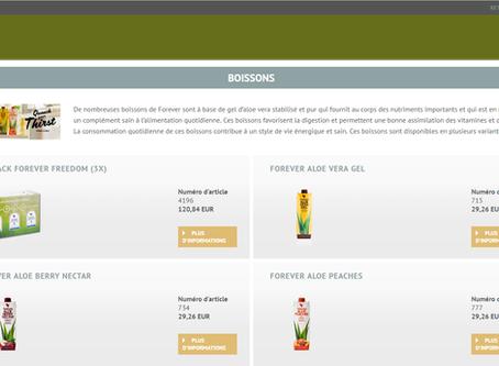 Boutique en ligne (Online Shop) client aloe vera Forever disponible en Belgique (Belgium)
