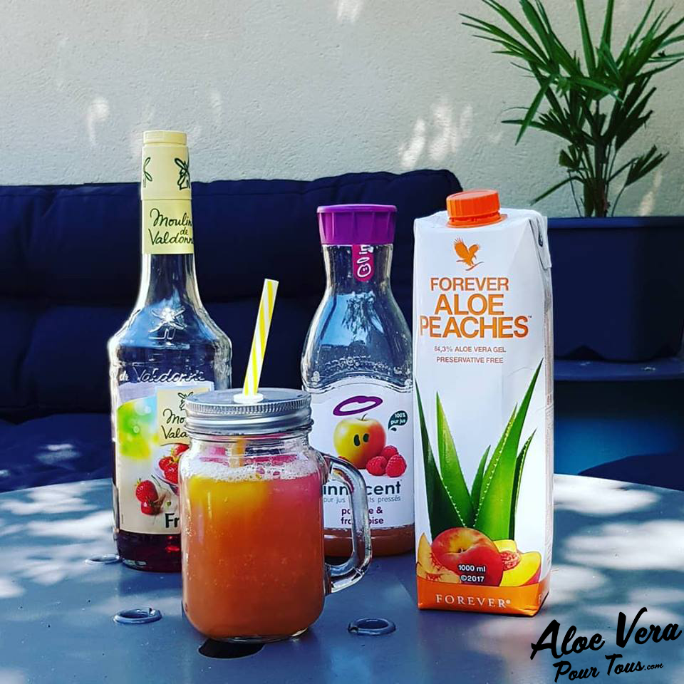 jus aloe vera | Cocktail Maison | Forever Aloe Pêche, Pomme, Framboise, Fraise