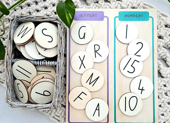 Numbers and Letters Sorting Board