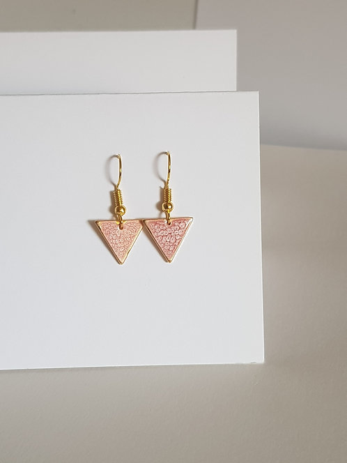 Pink Triangle Drop Earrings - gold or silver