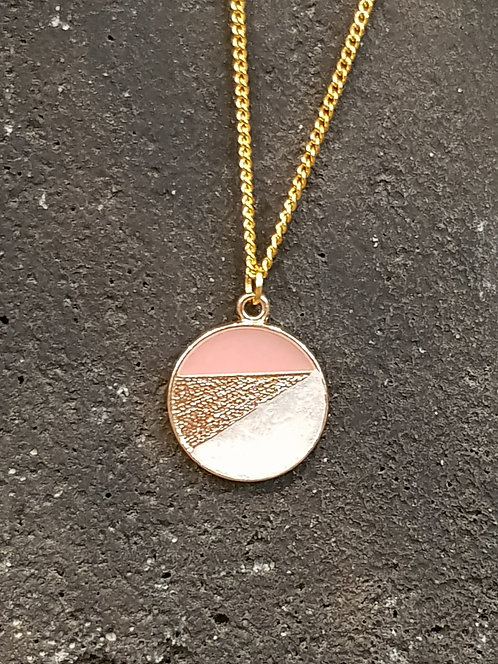 Pink and Pearl Circle Necklace