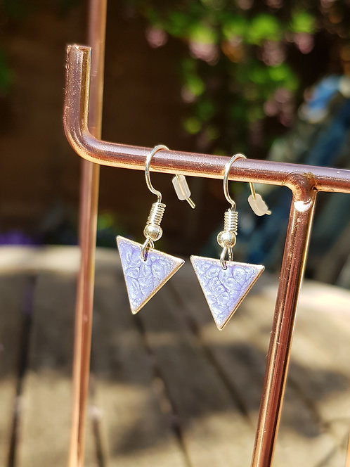 Blue Triangle Drop Earrings - silver or gold