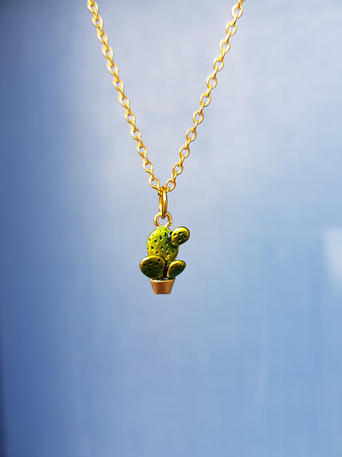 Cactus Necklace, gold or silver