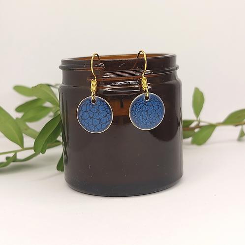 Dark Blue Round Earrings