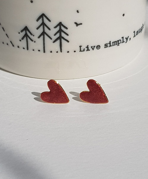 Large Red Heart Studs