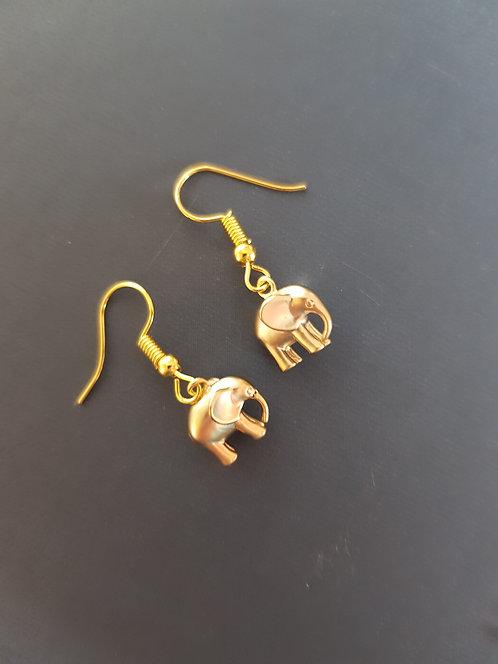 Elephant Earrings - silver or gold