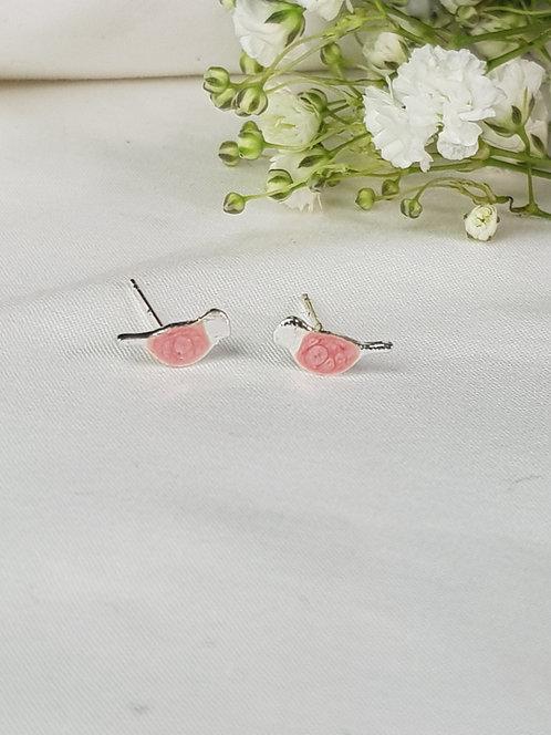 Pink Bird Studs