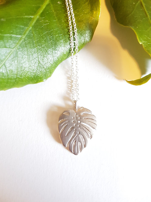 Silver Monstera Necklace