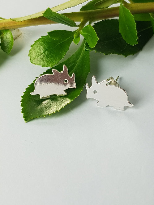 Triceratops Stud Earrings - silver or gold
