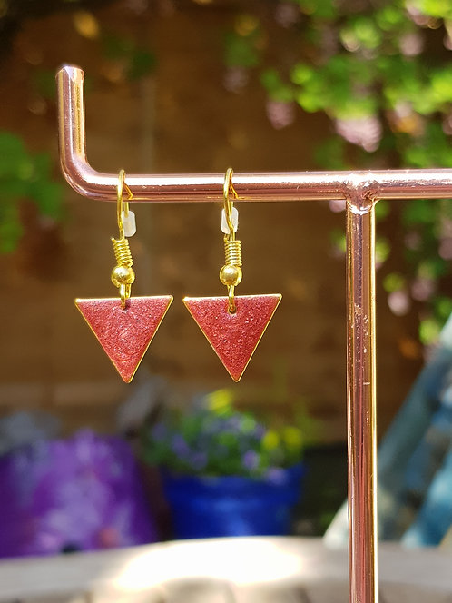 Red Triangle Drop Earrings - gold or silver