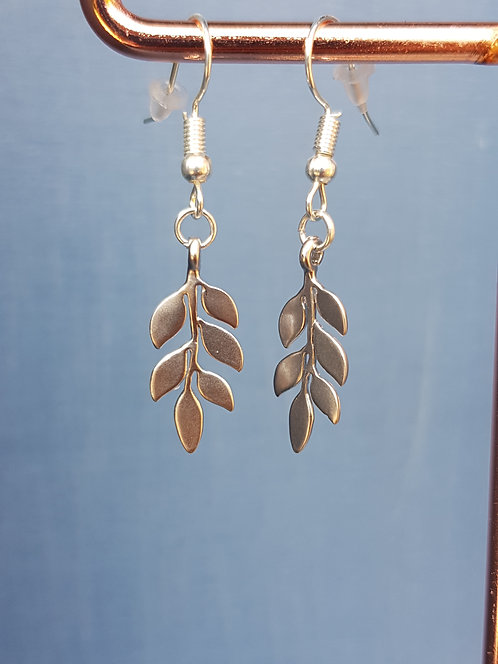 Silver Laurel Leaf Drop Earrings