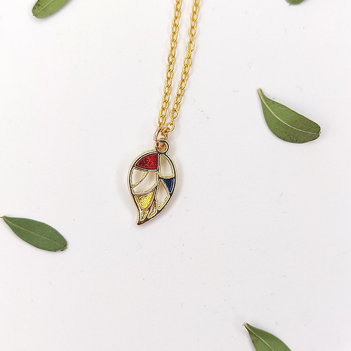 Stained Glass Leaf Necklace
