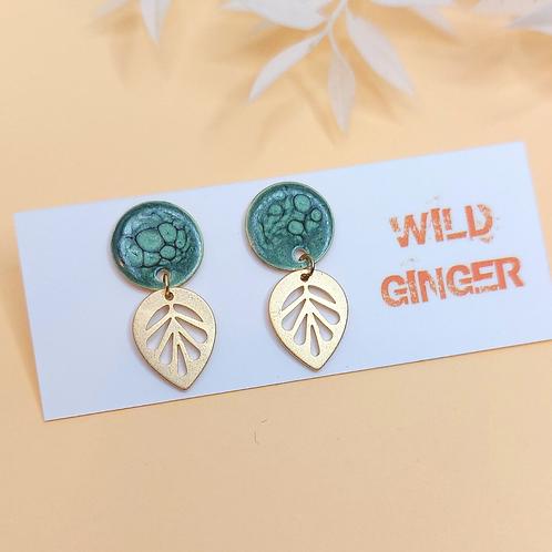 Willow Earrings - dark green