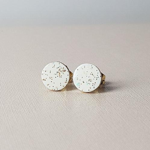 White Glitter Large Round Studs