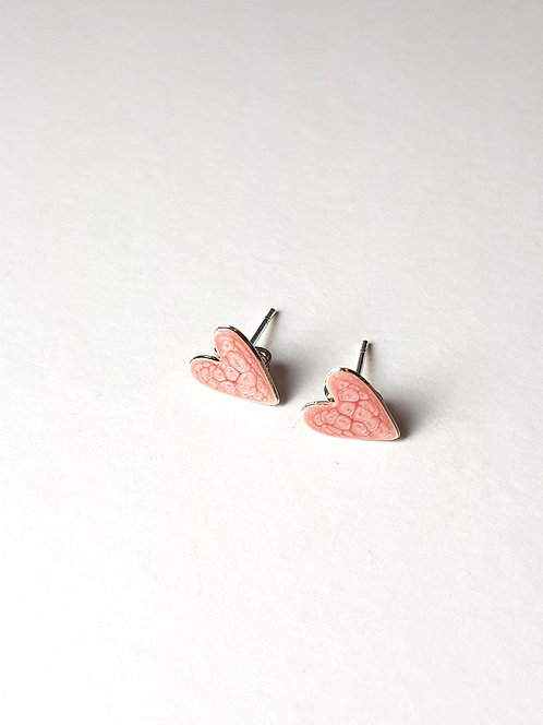 Large Pink Heart Studs
