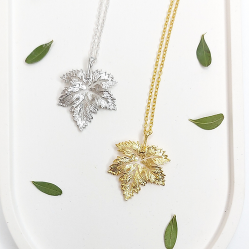 Maple Leaf Necklaces - gold or silver