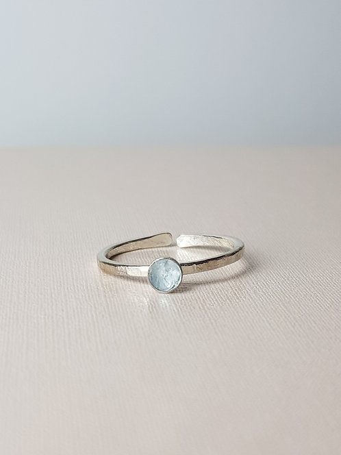 Sky Blue Topaz Silver Stacking Ring