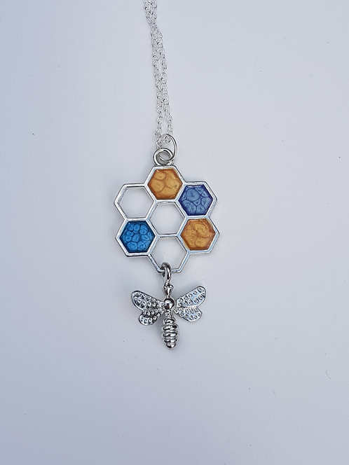 Blue Silver Honeycomb and Bee Necklace
