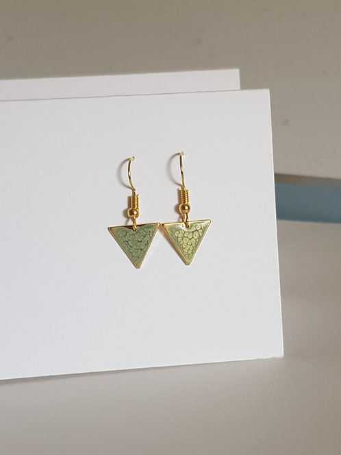 Pale Green Triangle Drop Earrings - silver or gold