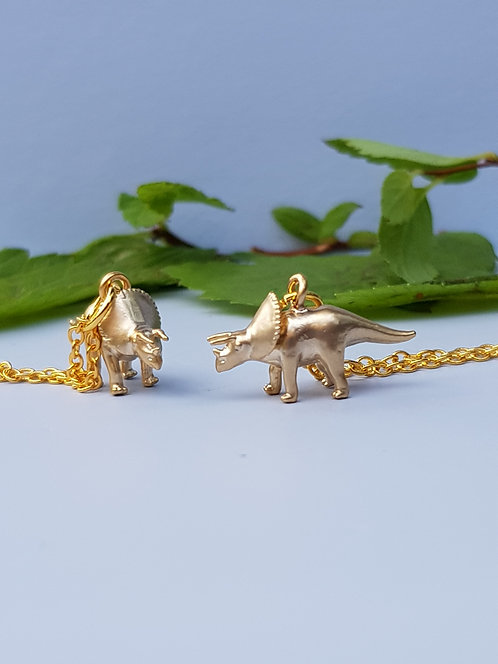 Triceratops Necklace - gold or silver
